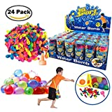 [24 Pack] Refill Kits of Latex Water Balloons Bomb - Best for Summer Water Balloon Fight, Party Favors, Sports Fun for Kids & Adults - Multicolored with Nozzle & Carry Bag (1200 Count)
