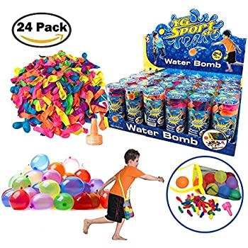 [Value Bundle] 24 Pack Refill Kits of Latex Water Balloons Bomb with Nozzles, Summer Water Fight Sports Fun Party Favors for Kids & Adults (1200 Count)