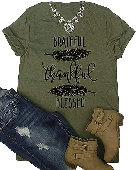 Amazon.com: Grateful Thankful Blessed Thanksgiving Camiseta ...