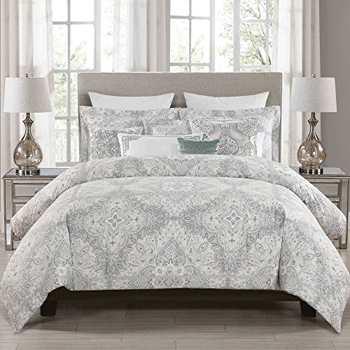 Envogue Queen Full Comforter Set, Grey Paisley, 5 Pieces