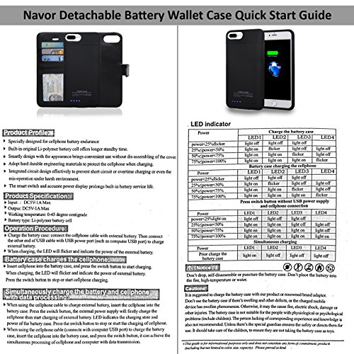 Navor Folio Wallet Magnetic Detachable ability Battery situation 4200mAh for iPhone 7 Plus 6 Plus 55 Inch Black Wallet Cases
