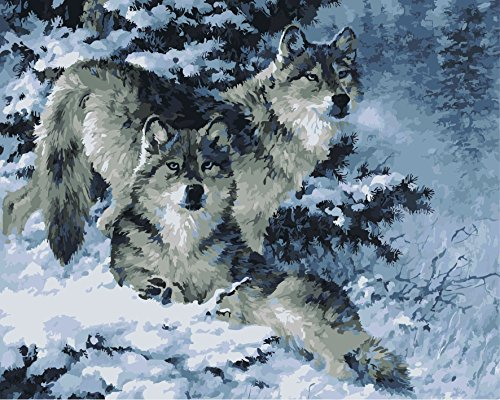 MailingArt Wooden Framed Paint By Number Animals No Mixing / No Blending Linen Canvas DIY Painting - Snow Wolf