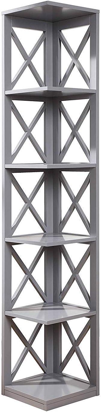 Convenience Concepts Oxford 5-Tier Corner Bookcase, Gray
