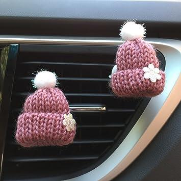 Inebiz Car Charm Cute Knitted Slouchy Beanie Hat Car Interior Air