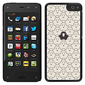 Caucho caso de Shell duro de la cubierta de accesorios de protección BY RAYDREAMMM - Amazon Fire Phone - Patrón Ovejas Negro Clever divertido Significado