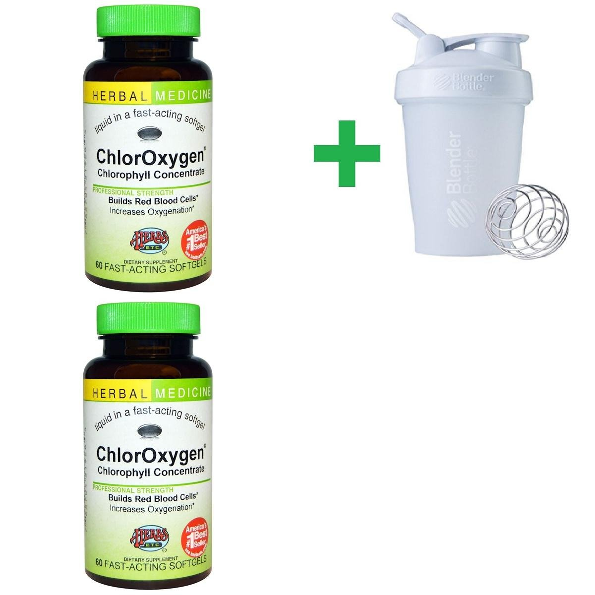 Herbs Etc, ChlorOxygen, Chlorophyll Concentrate, 60 Fast-Acting Softgels(2 PCS)+ Assorted Sundesa, BlenderBottle, Classic with Loop, 20 oz