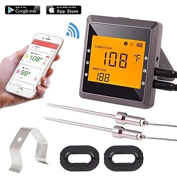 Termómetro digital para carne, Aidmax Pro03, termómetro inalámbrico Bluetooth con 6 puertos de sonrisa