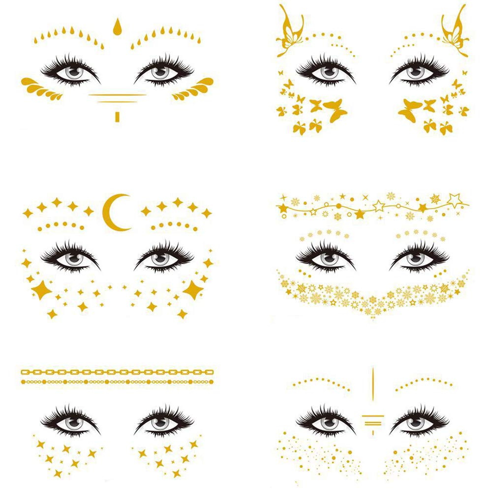 6PCS Face Tattoos Sticker, Freckle Sticker, Face Tattoos for Women,Gold Metallic Temporary Water Transfer Tattoo for Body Professional Make up Dancer Costume Parties Decoration Supplies