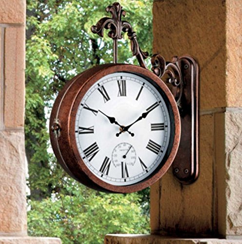 Outdoor Double Sided Clock and Thermometer with Scrolled Hanging Bracket -13 '' by TOP