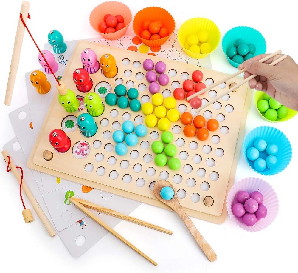 BeebeeRun Juguetes de Madera para Bebes,Juegos de Pesca Magnética de Madera Juego de Cuentas de Clip,Juguetes Montessori 3 Años Niños Niñas Juguetes Educativos