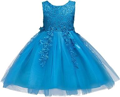 Kids Flower Girl Princess Dress Lace Party Wedding Bridesmaid Gown Tutu Dresses