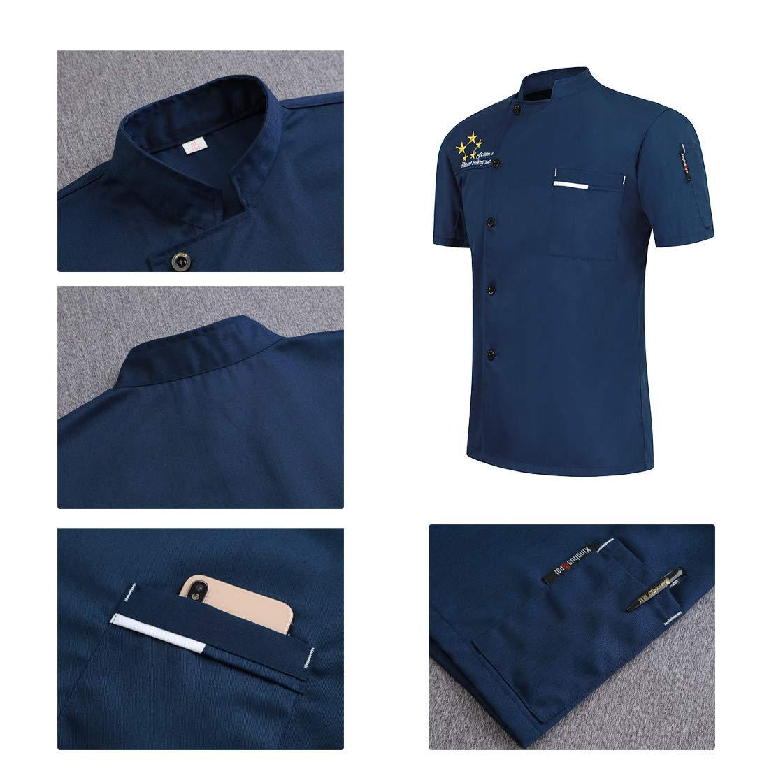 Camisa de Chef Cocina Manga Corta para Verano Uniforme de Trabajo Cocinero Camarero para Hombres y Mujeres Transpirable y Resistente al Desgaste