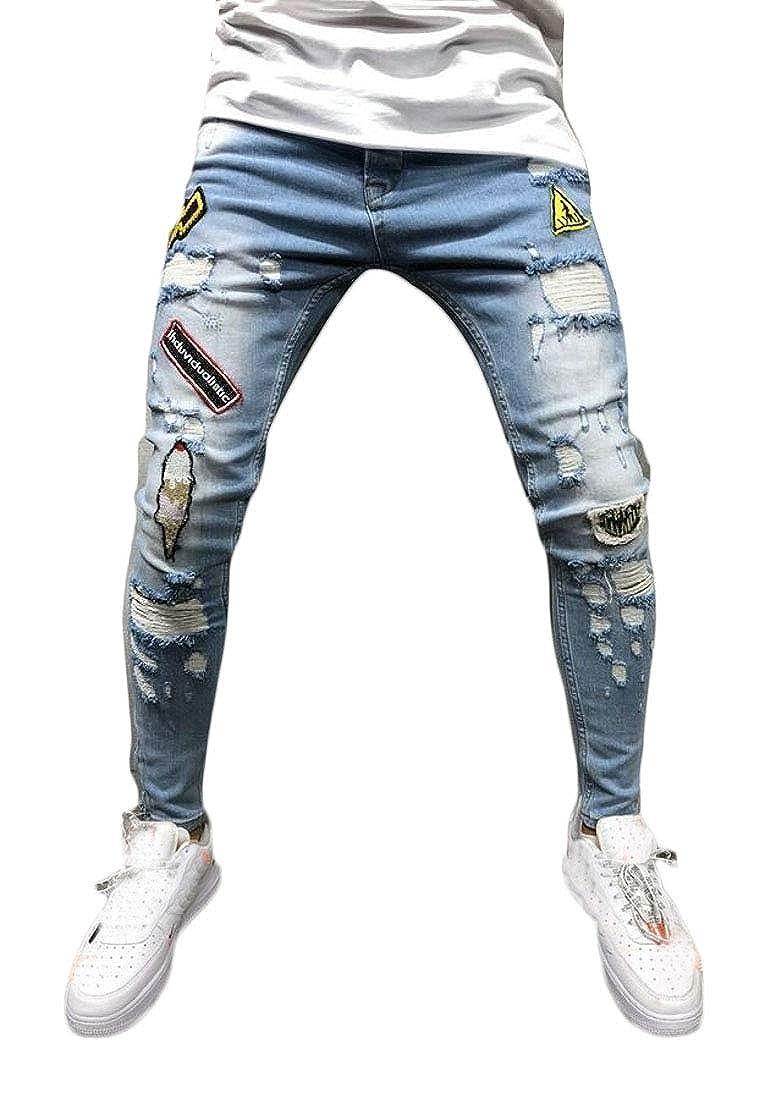 WSPLYSPJY Mens Ripped Holes Slim Hip-Hop Jeans Harem Hipster Denim Pants