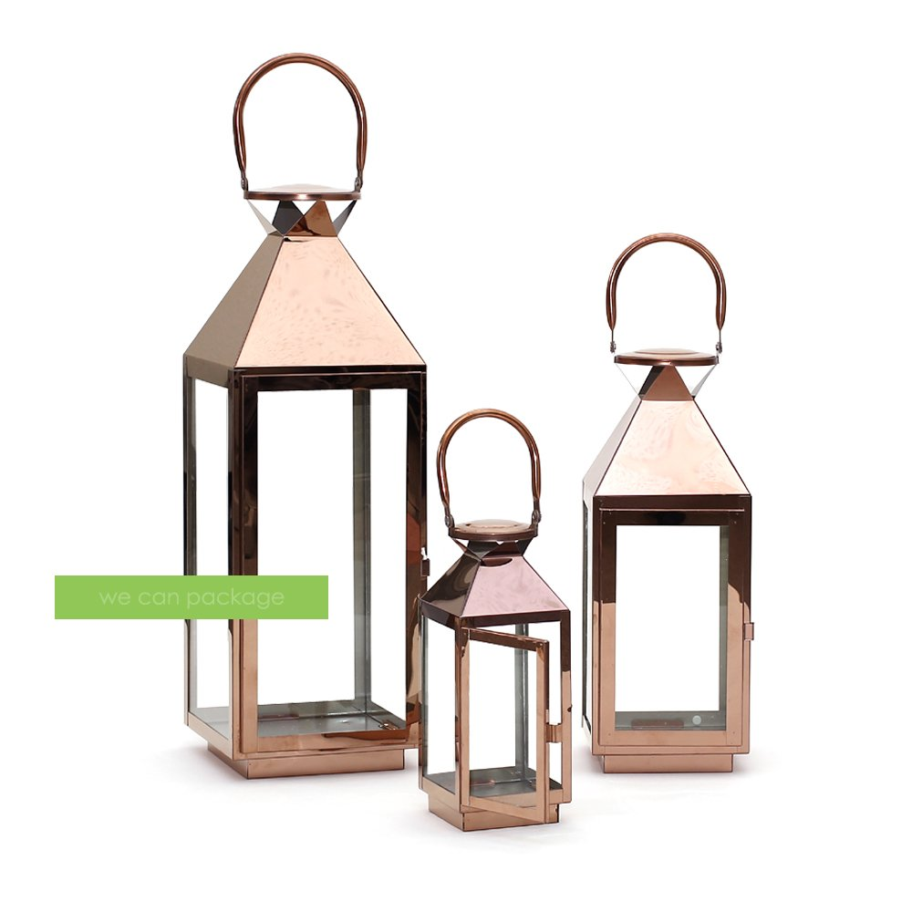 3 Rose Gold Metal Lanterns Chrome Display Wedding Home Decoration - We Can Package