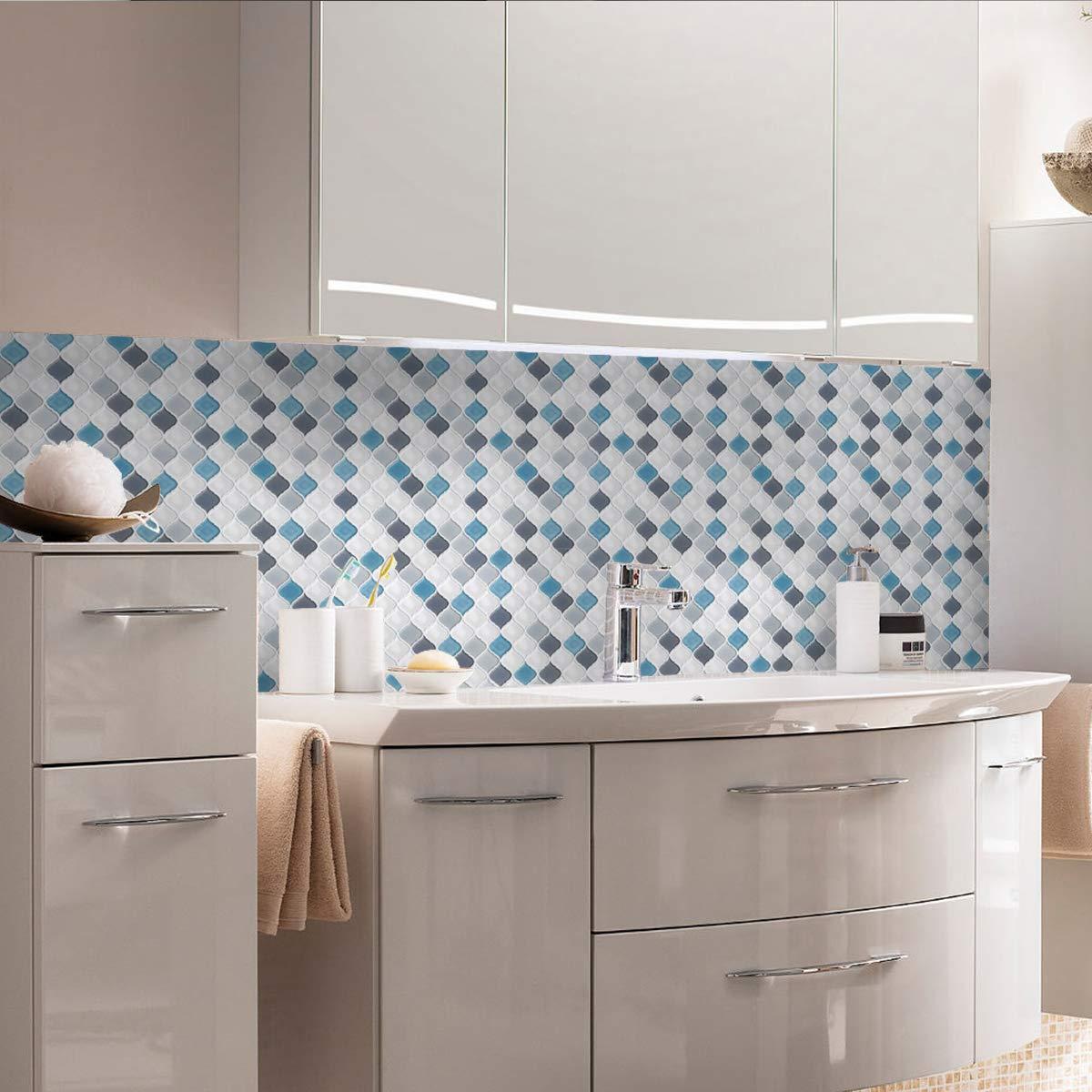 Peel and Stick Wall Tile for Kitchen Backsplash-Slant Blue&White Arabesque Tile Backsplash-Kitchen Backsplash Tiles Peel and Stick Wall Stickers,6 Sheets by FAM STICKTILES (Image #4)