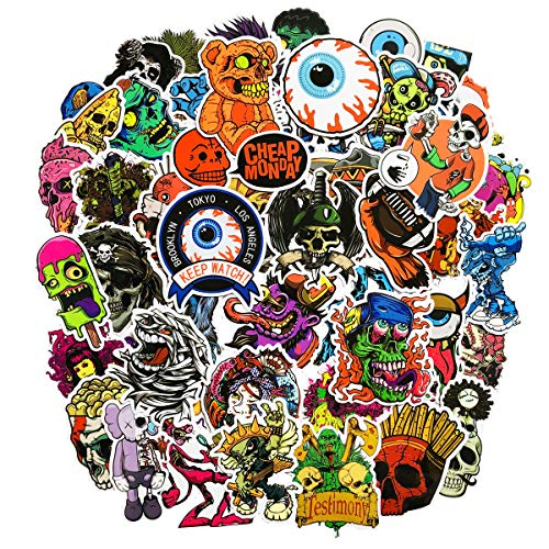 (50 PCS No-Repeat Halloween Stickers Waterproof Vinyl Scary Horror Stories Stickers Skull for Personalize Laptop Car Helmet Skateboard Luggage Graffiti Decals)
