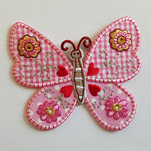 2 iron-on appliques set - Pink Butterfly 7Cm High and Elephant 6X4Cm embroidered application set by TrickyBoo Design Zurich Switzerland]()