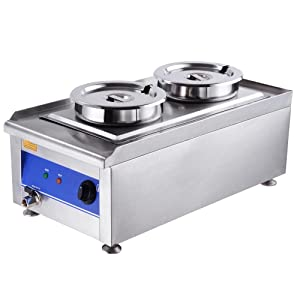Yescom 1200W Commercial Dual Countertop Steam Table Food Warmer Kitchen Soup Station w/ 2x 7L Stainless Steel Pots
