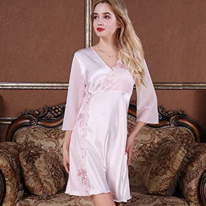 64090ebaf5 Image Unavailable. Image not available for. Color  MH-RITA Silk pajamas  female summer short-sleeved ...