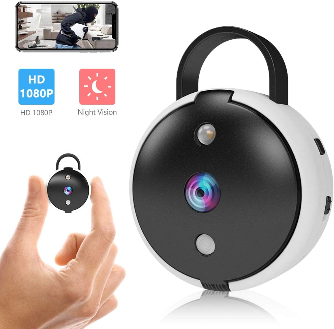 Spy Camera Wireless Hidden Security Camera Mini Portable Wi-Fi Cam HD 1080P Covert Secret Nanny Cameras for Home, Office Monitor Video Recorder Live Streaming via Android iOS APP