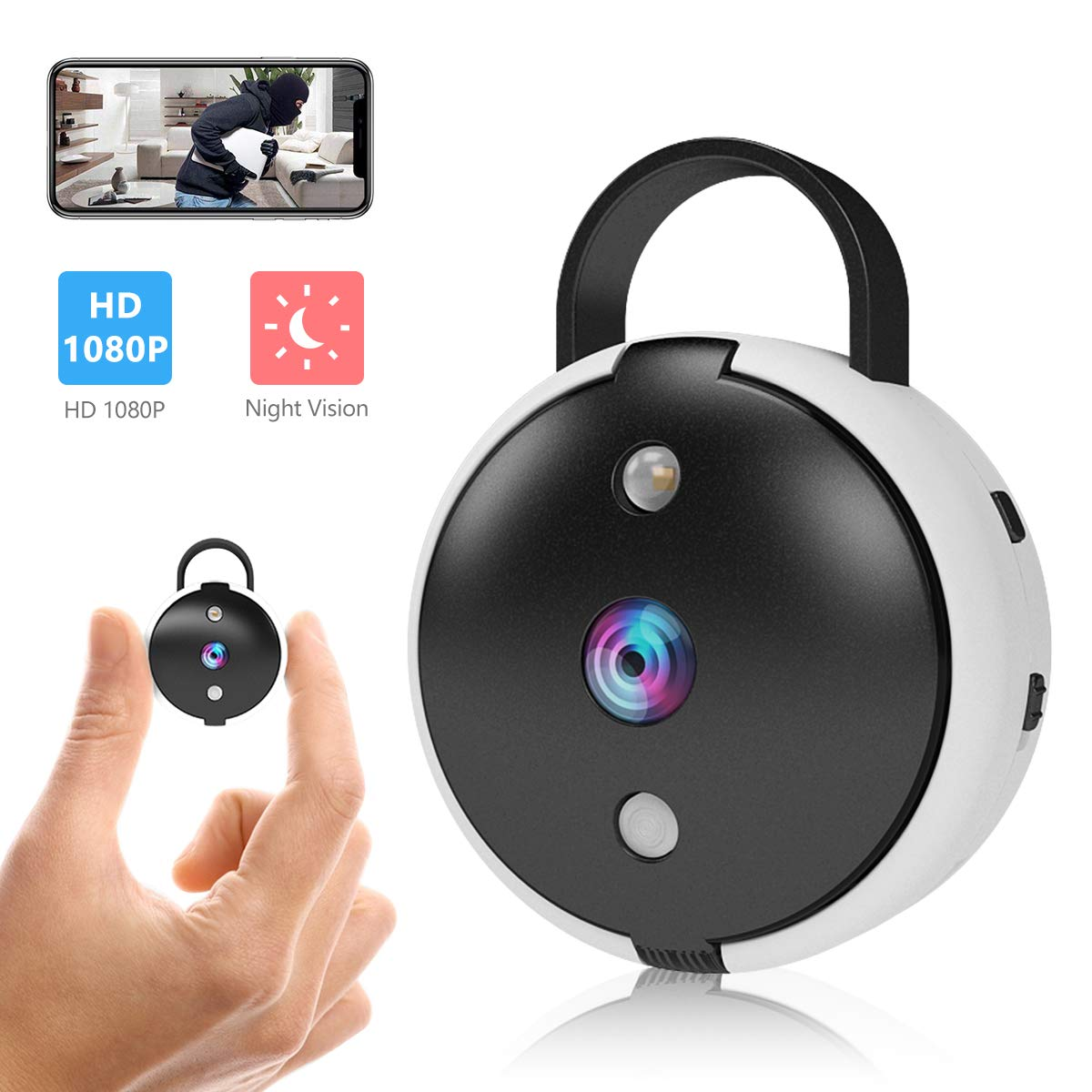 Spy Camera Wireless Hidden Security Camera Mini Portable Wi-Fi Cam HD 1080P Covert Secret Nanny Cameras for Home, Office Monitor Video Recorder Live Streaming via Android/iOS APP