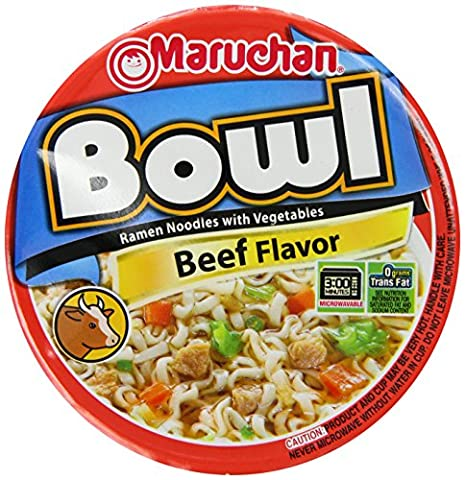 Maruchan Noodle Bowl, Beef, 3.36 Ounce (Pack of 6) - Big Bowl Noodles
