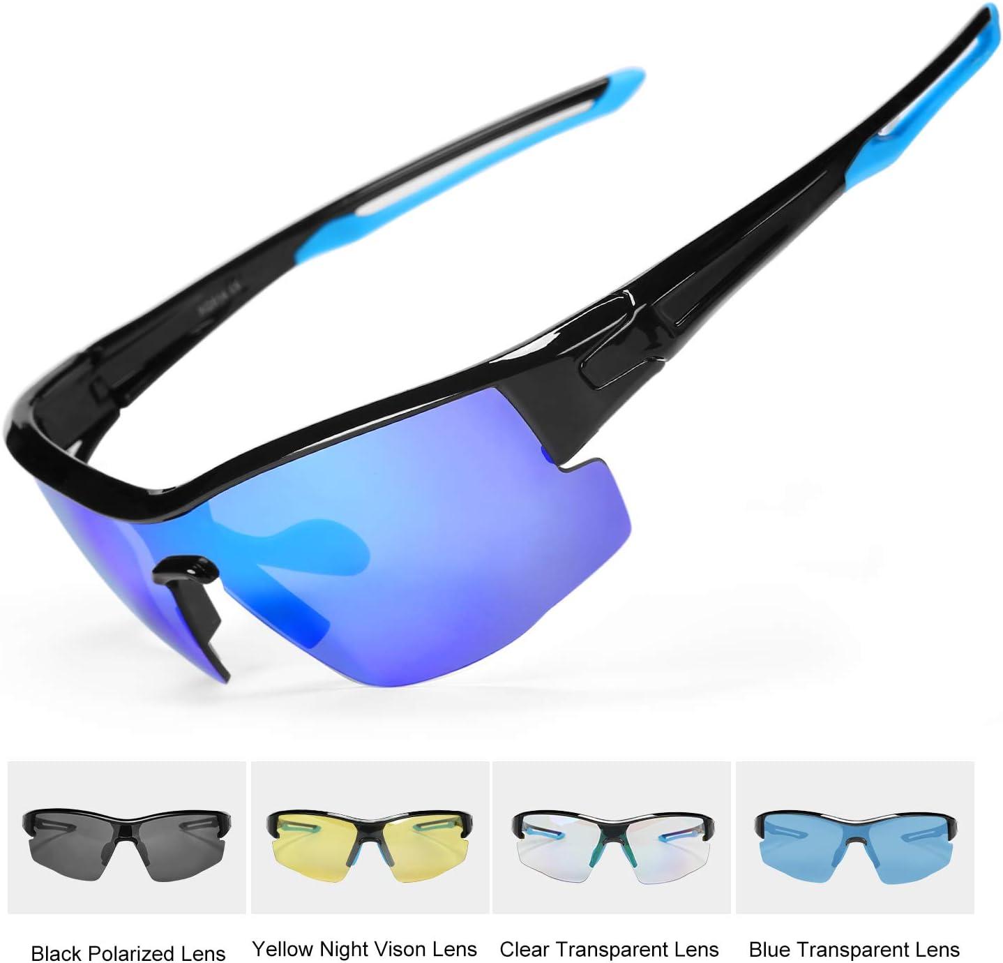 INBIKE Gafas Sol Polarizadas Ciclismo con 5 Lentes De Pc Intercambiables y Montura De TR90, Gafas Uv400 De MTB Bicicleta Deportivas Antivaho Unisex-Adulto