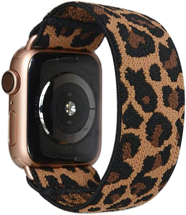 Tefeca Dark Cheetah/Leopard Pattern Elastic Compatible/Replacement Band for Apple Watch 38mm/40mm (Gold Adapter, XS fits Wrist Size : 5.5-6.0 inch)