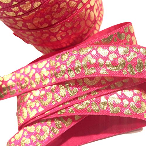 Fashion Fabric - 3 Yards hot Pink w/Metallic foil Gold Leopard Print /8 fold Over Elastic foe - Complete Your Projects with Beautiful Trims