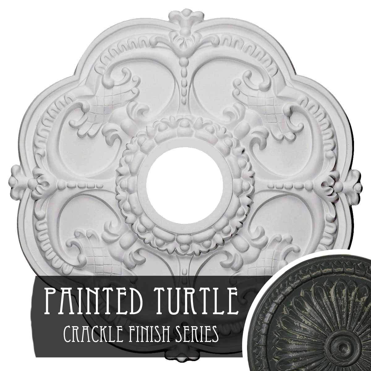 Ekena Millwork CM17ROPTC Rotherham Ceiling Medallion, Painted Turtle Crackle