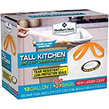 Member's Mark Tall Kitchen Simple Fit Drawstring Bags, 13 gallon, 200 Count