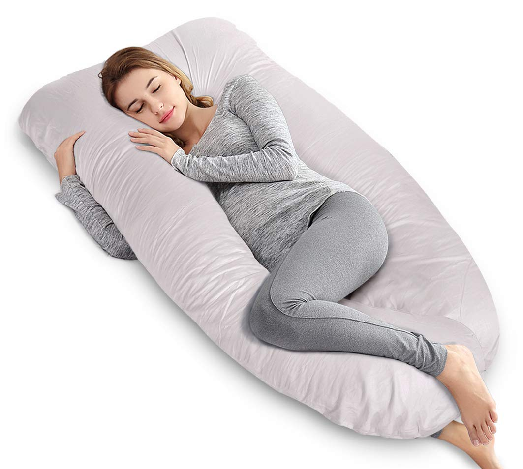 AngQi 55'' Full Pregnancy Body Pillow, U Shaped Maternity Pillow for Back Pain Relief and Pregnant Women, with Washable Cotton Cover, Grey