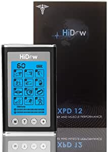 HiDow XPD Dual Channel TENS EMS Unit 12 Modes Muscle Stimulator Pain Relief Therapy Electronic Pulse Massager for Sore Muscles in Your Shoulders, Back Sciatica Pain, Ab's, Legs, Knee's and More