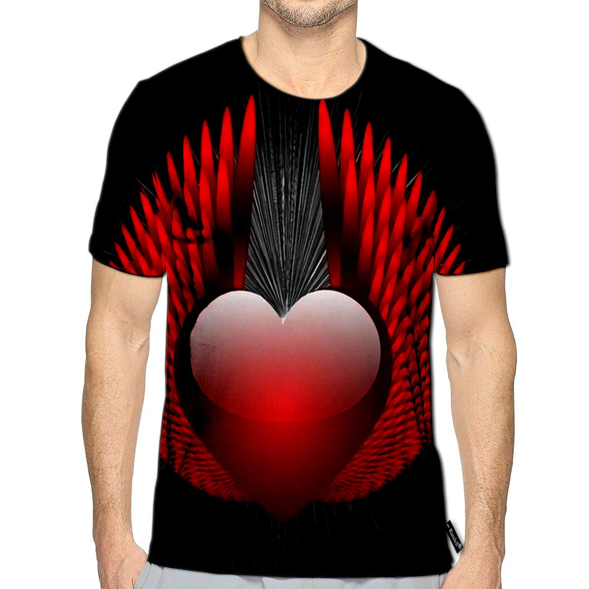 Randell 3D Printed T-Shirts Abstract Heraldic Sign with Heart Short Sleeve Tops Tees