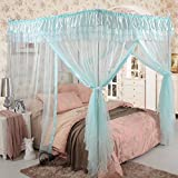 Royal- European Style Square Top Mosquito Net Three-door Encryption Thickening Single Double Bed Stainless Steel Bracket Blue ( Color : 22mm , Size : 1.5m (5 feet) bed )