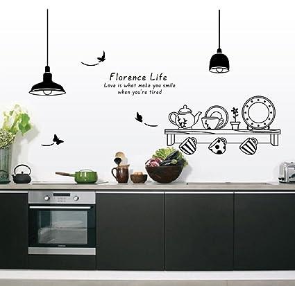 ufengke® Personalizzato Vasellame da Cucina Adesivi Murali, Tazze e ...