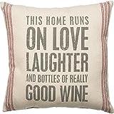 Primitives by Kathy Vintage Flour Sack Style Really Good Wine Throw Pillow,