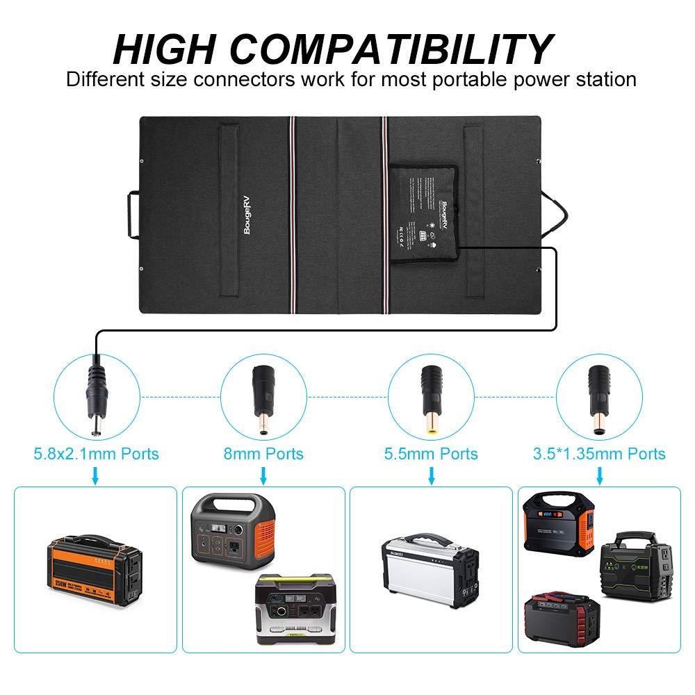 BougeRV 100 Watt 18V 12V Solar Panel SunPower Cell Solar Charger Foldable Portable Dual Output (5V/2A USB + 18V/5A DC), 10 Laptops Connectors Suitable for Smartphones, Tablet, Generator, RV, Boat by BougeRV (Image #5)