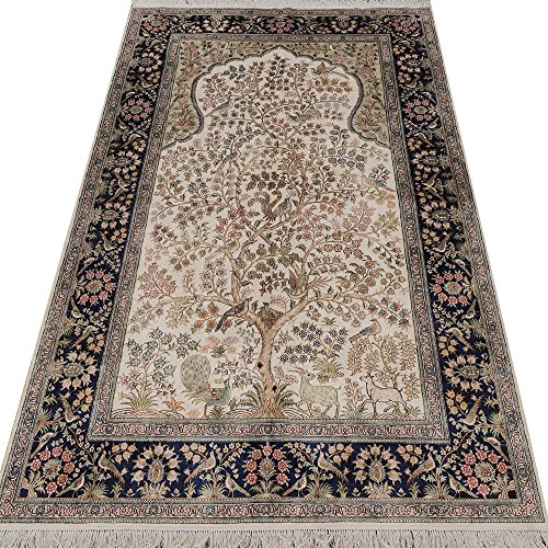 Yilong 5'x8′ 300Lines Oriental Area Rugs Classic Persian Pure Silk Prayer Rugs Tree of Life Handmade Carpet
