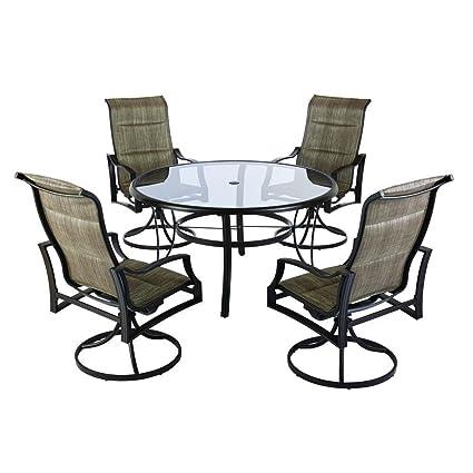 Statesville Patio Furniture.Amazon Com Hampton Bay Statesville Shell 5 Piece Aluminum Outdoor