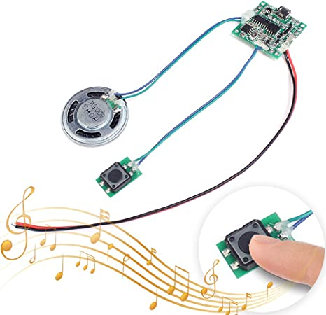 Icstation Recordable Sound Module Button Control 8M MP3 WAV Music Voice Player Programmable Board with Speaker for Mothers Day DIY Music Box Greeting Card Creative Gift