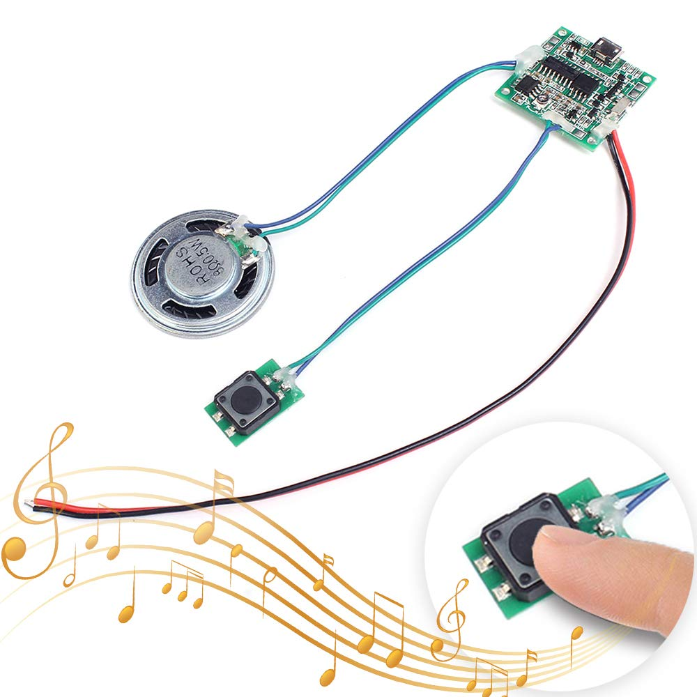 Icstation Recordable Sound Module Button Control 8M MP3 WAV Music Voice  Player Programmable Board with Speaker for Mother's Day DIY Music Box  Greeting