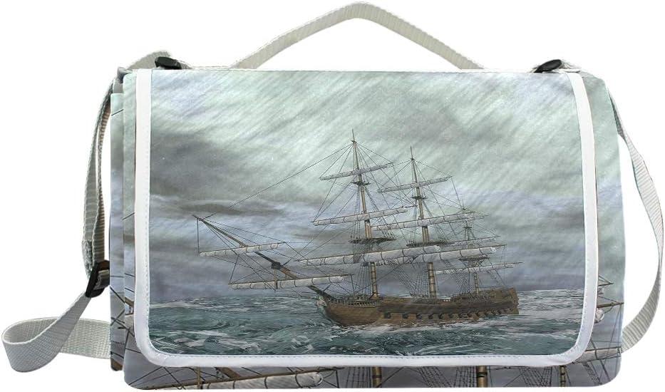 XINGAKA Coperta da Picnic Tappetino Campeggio,Ocean Old Ship Sea Moonlight Print,Giardino Spiaggia Impermeabile Anti Sabbia 2