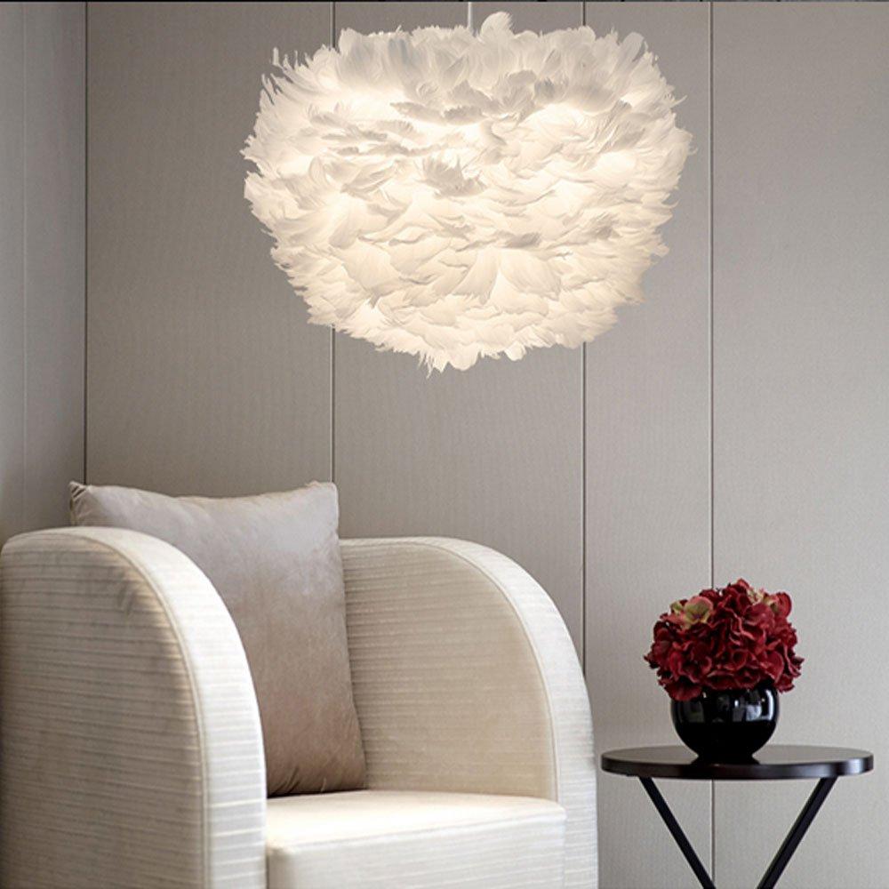 Stoex Hä ngeleuchte, Federlampe, 30 cm, Lampenschirm, E27, Weiß