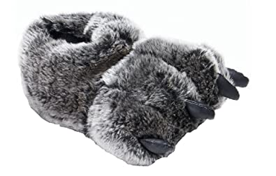e35d3116e29 Image Unavailable. Image not available for. Color  Wholesale Merchandisers Little  Boys Gray Bear Claw Monster Claws Slippers ...