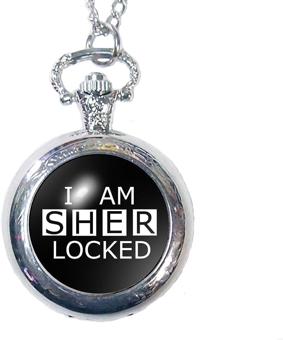 Joyplancraft Detective Sherlock Inspired Watch Necklace I Am Sherlocked Necklace Dome Pocket Watch Necklace