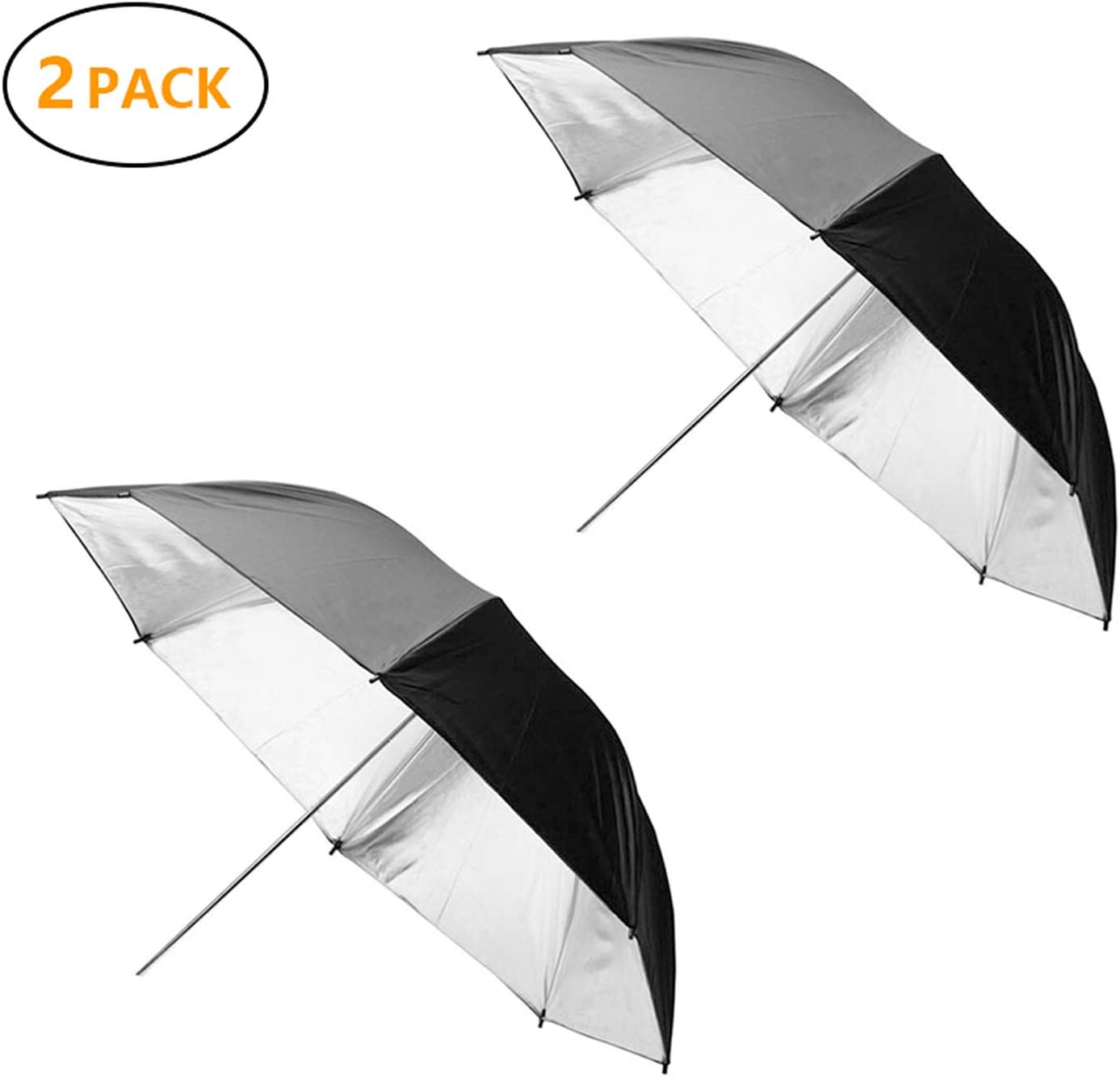 Photo Umbrella MountDog 2 Pack 33/'/'//84cm Photography Studio Reflective Lighting Double Layer Black//Silver Umbrella for Photo and Video Studio Shooting