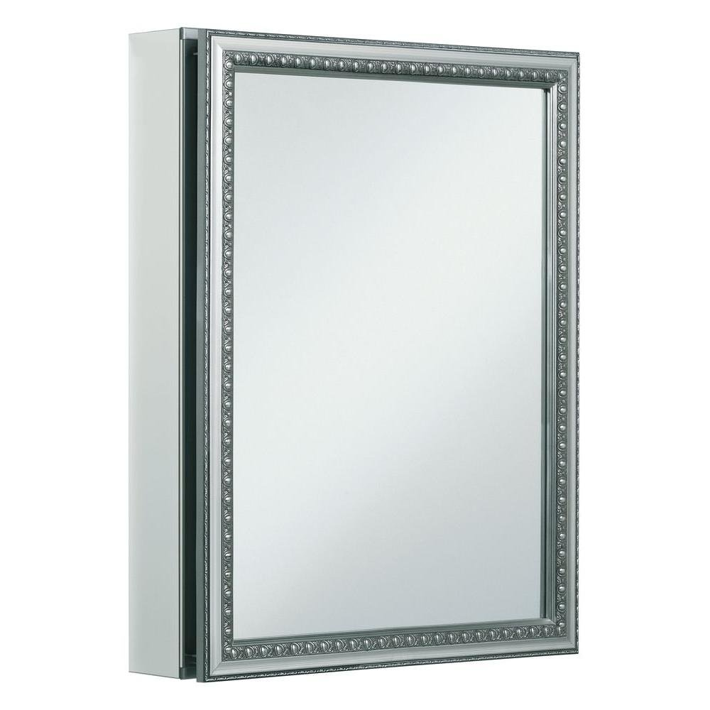 KOHLER K-CB-CLW2026SS 20 inch x 26 inch Aluminum Bathroom Medicine Cabinet with Decorative Silver Framed Mirror Door; Recess or Surface Mount by Kohler