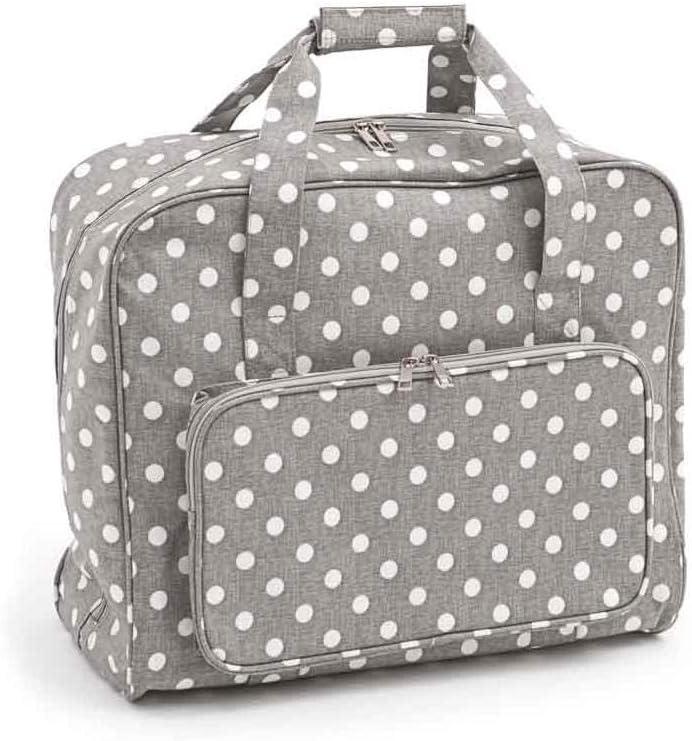 Hobby Gift - Bolsa de Transporte para máquina de Coser, Algodón de PVC, Lino Gris Lunares, (d/w/h):20 x 43 x 37 cm