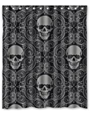 100% Polyester Waterproof Dark Balck World Design Skull With Lacy Pattern Around Shower Curtain 60x72 Bathroom DecorShower Rings Included